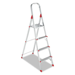 Louisville #566 Four-Step Folding Aluminum Euro Platform Ladder, Aluminum/Red