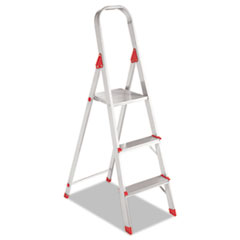 Louisville #566 Three-Step Folding Aluminum Euro Platform Ladder, Aluminum/Red