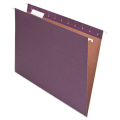 Pendaflex Earthwise Recycled Colored Hanging File Folders, 1/5 Tab, Kraft, Letter, Violet, 25/Box
