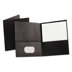 Oxford Twin-Pocket Folder, Embossed Leather Grain Paper, Black
