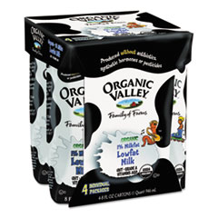 Organic Valley Milk, Single Serve, 1% Lowfat, 8oz Aseptic Container, 4/Pack
