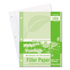 Pacon Ecology Filler Paper, 8-1/2 x 11, College Ruled, 3-Hole Punch, WE, 150 Sheets/PK