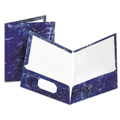 Oxford Marble Design Laminated High Gloss Twin Pocket Folder,Navy, 25/box
