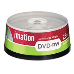 imation DVD-RW Discs, 4.7GB, 4x, Spindle, Silver, 25/Pack