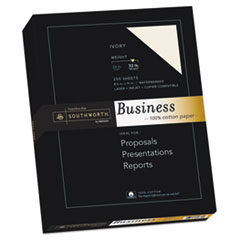 Southworth 100% Cotton Business Paper, Ivory, 32 lbs., 8-1/2 x 11, 250/Box