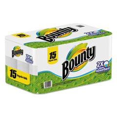 Bounty Perforated Paper Towels, 9 x 10 2/5, White, 48 Sheets/Roll, 15/Pack