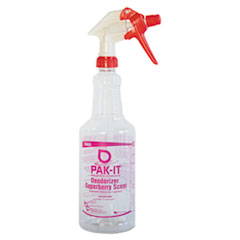 PAK-IT Color-Coded Trigger-Spray Bottle, 32 oz, Dark Red: Deodorizer - Superberry Scent