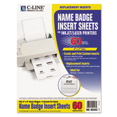C-Line Additional Laser/Inkjet Badge Inserts, 3 x 4, White, 60/Pack