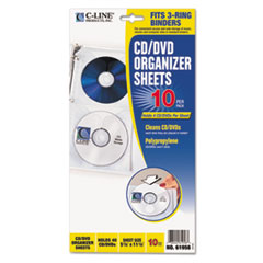 C-Line Deluxe CD Ring Binder Storage Pages, Standard, 4 CDs, 5 13/16 x 11 1/16, 10/PK