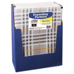C-Line ZipNGo Expanding Portfolio, Letter, 13 Pockets, Plaid/Clear, 1/EA