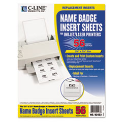 C-Line Additional Laser/Inkjet Badge Inserts, 3 1/2 x 2 1/4, White, 56/Pack