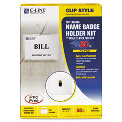 C-Line Badge Holder Kits, Top Load, 3 x 4, White, 50/Box