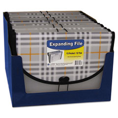 C-Line Expanding File, Plaid, Letter, 13 Pockets, 1.5