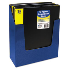 C-Line Bound Sheet Protector Presentation Book, 12 Sleeves, 11 x 8-1/2, Black