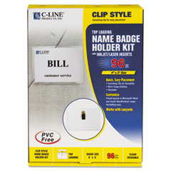 C-Line Badge Holder Kits, Top Load, 3 x 4, White, Clip Style, 96/Box