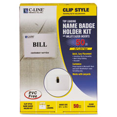 C-Line Badge Holder Kits, Top Load, 2 1/4 x 3 1/2, White, 50/Box