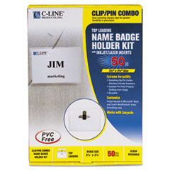 C-Line Badge Holder Kits, Top Load, 2-1/4 x 3-1/2, White, Combo Clip/Pin, 50/Box