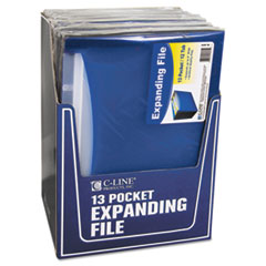 C-Line 13-Pocket Expanding File, Nine Inch Expansion, Letter, Blue