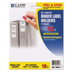 C-Line Self-Adhesive Ring Binder Label Holders, Top Load, 3/4 x 2-1/2, Clear, 12/Pack
