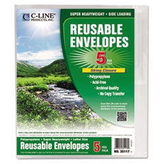 C-Line Reusable Poly Envelope, String Closure, 1 Inch Gusset, 9 4/5 x 11 3/4, Clear