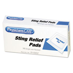 PhysiciansCare First Aid Sting Relief Pads, 10/Box