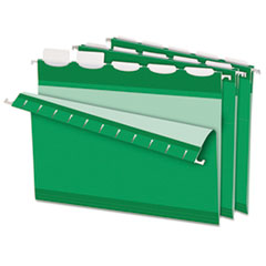 Pendaflex Colored Reinforced Hanging Folders, 1/5 Tab, Letter, Bright Green, 25/Box
