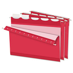 Pendaflex Colored Reinforced Hanging Folders, 1/5 Tab, Letter, Red, 25/Box