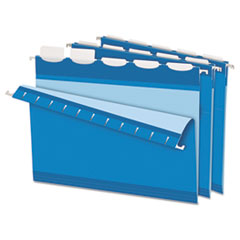 Pendaflex Ready-Tab Lift Tab Reinforced Hanging File Folders, 1/5 Tab, Letter, Blue, 25/BX