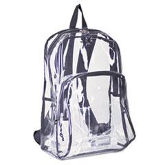 Eastsport® CASE PVC W-BLK TRIM CLR Backpack, Pvc Plastic, 12 1-2 X 5 1-2 X 17 1-2, Clear-black