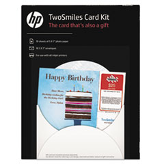 HP TwoSmiles Card Kit, 5 x 7, White, 10 Sheets/10 Envelopes