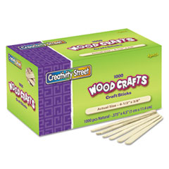 Chenille Kraft Natural Wood Craft Sticks, 4 1/2 x 3/8, Natural Wood, 1000/Box
