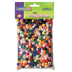 Creativity Street Pony Beads, Plastic, 6mm x 9mm, Assorted Colors, 1000 Beads/Pack