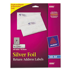 Avery Foil Mailing Labels, 3/4 x 2 1/4, Silver, 300/Pack