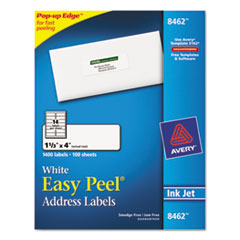 Avery Easy Peel Inkjet Address Labels, 1-1/3 x 4, White, 1400/Box