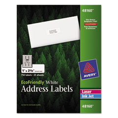 Avery EcoFriendly Labels, 1 x 2-5/8, White, 750/Pack