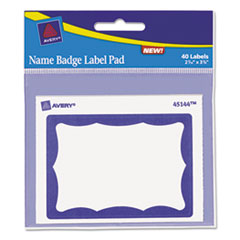 Avery Name Badge Label Pad, 3 x 4 Pad, 2-7/16 x 3-3/8 Labels, Blue/White, 40 Labels/Pk