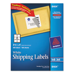 Avery Shipping Labels with TrueBlock Technology, 3-1/3 x 4, White, 600/Box