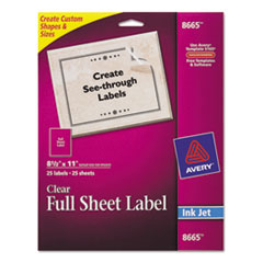 Avery Clear Easy Peel Mailing Labels, Inkjet, 8 1/2 x 11, 25/Pack