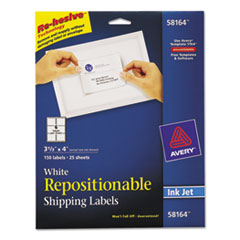 Avery Repositionable Shipping Labels, Inkjet, 3 1/3 x 4, White, 150/Box