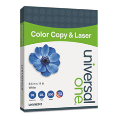 Universal One Copier/Laser Paper, 98 Brightness, 28lb, 8-1/2 x 11, White, 500 Sheets/Ream
