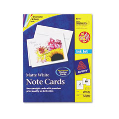 Avery Note Cards w/Matching Envelopes, Inkjet, 4-1/4 x 5-1/2, White, 2/Sheet, 60/Pack