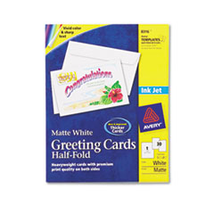 Avery Half-Fold Greeting Cards, Inkjet, 5-1/2 x 8-1/2, Matte White, 30/Box w/Envelopes