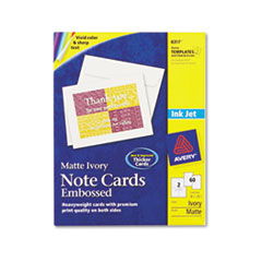 Avery Note Cards w/Matching Envelopes, Embossed Inkjet, 4-1/4 x 5-1/2, 2/Sheet, 60/PK