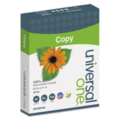 Universal One 100% Recycled Copy Paper, 92 Brightness, 20lb, 8-1/2 x 11, White, 5000 Shts/Ctn