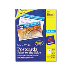 Avery Inkjet-Compatible Postcards, 4 x 6, Two per Sheet, 100 Cards/Pack