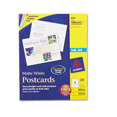 Avery Inkjet-Compatible Postcards, 5-1/2 x 4-1/4, Four per Sheet, 200 Cards/Box