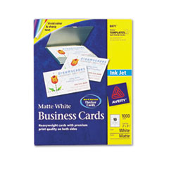 Avery Inkjet Matte Business Cards, 2 x 3 1/2, White, 10/Sheet, 1000/Box
