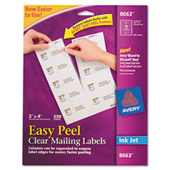 Avery Easy Peel Inkjet Mailing Labels, 2 x 4, Clear, 250/Pack