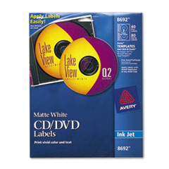 Avery Inkjet CD/DVD Labels, Matte White, 40/Pack
