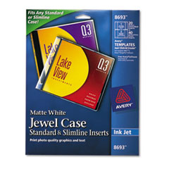 Avery Inkjet CD/DVD Jewel Case Inserts, Matte White, 20/Pack